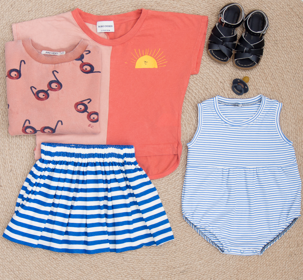 Stripes and blue summer girls outfit